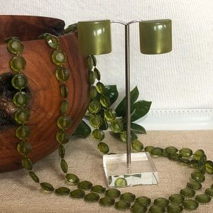 Vintage Avocado Green Necklace and Clip Earrings